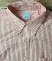 Brooks Brothers Men's Long Sleeve Button Down Cotton Shirt Sz XL Striped
