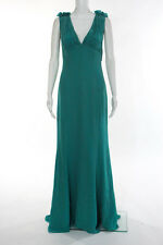 Escada Teal Green Silk Ruched Sleeveless Gown Size European 36 New $3600 4291794