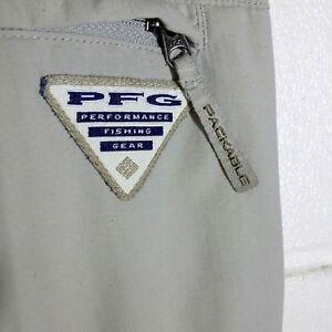 Columbia PFG Mens Cargo Pants L 32 Insect Blocker Tan Convertible Shorts Fishing