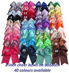 Cheer hair bow bobbles band 8 inch grosgrain ribbon cheerleading dance girls lot