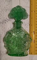 "GORGEOUS ANTIQUE GREEN GLASS 61/2"" PERFUME BOTTLE, CUPIDS,FLOWERS"