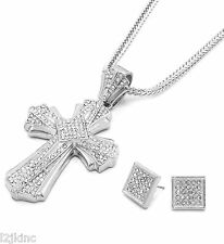 Mens Large Cross Silver Iced Out Pendant 36 Inch Necklace Franco Chain S