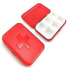2 Red Pill Holders 6 Compartment Pills Box Medicine Tablet Tablets Dispenser