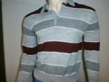 vtg ROYAL KNIGHT SWEATER SHIRT Gray Burgundy Knit Mod 70s 80s
