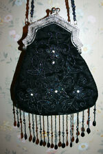 Retired & Signed Black Velvet Beaded Purse Metal Handle Katherine's Collection