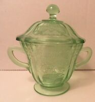 Art Deco Green Madrid Depression Glass Sugar Bowl & Lid AS IS Federal Glass