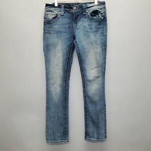 MISS ME Women's JE1099T2R Straight Leg Jeans Size 28 bling thick stitch denim