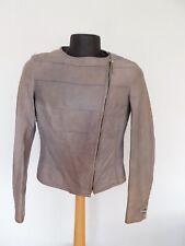 Escada Sport leather jacket size 36 Lt Gray Asymmetrical Zip