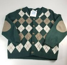 Janie and jack cardigan  boy sz  5 5t toddler hunter green Argyll rare