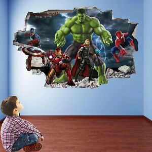 Avengers Superhero Wall Art Stickers Mural Decal Hulk Spiderman Iron Man EA94