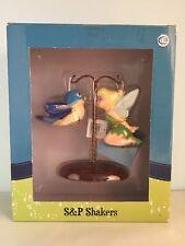 Disney Tinker Bell & Blue Bird On Tree Ceramic Salt & Pepper Shakers New In Box
