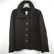 Chico's Cardigan Sweater Jacket Sz 2 Brown Button Up Collared Long Cotton