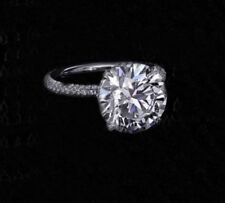 9 MM 2.60 Ct Solitaire White Moissanite Engagement 14K White Gold Finish Ring