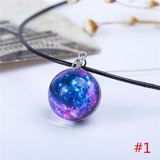 Space Galaxy Universe Glass Glow in the Dark Pendant Chain Necklace Jewelry