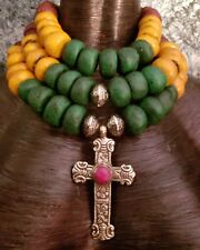 Unisex Stacked Tribal Moroccan Resin Statement Necklace KATROX Cross Pendant