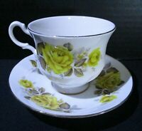 Queen Anne Pedestal Tea Cup And Saucer - Yellow Roses, Footed, England, Gold Rim