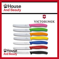 6 x VICTORINOX SERRATED PISTOL GRIP STEAK TOMATO SAUSAGE KNIFE COLOURFUL 11CM