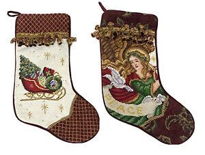 Needlepoint Embroidered Christmas Velvet Stocking Set 2 Tassels Angel Sleigh