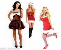 MISS NAUGHTY SANTA SEXY DELUXE CHRISTMAS XMAS FANCY DRESS OUTFIT HAT STOCKINGS
