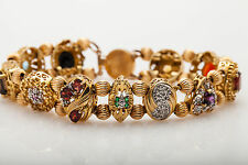 $5000 10ct Emerald Ruby Sapphire Diamond 10k Yellow Gold SLIDE CHARM Bracelet