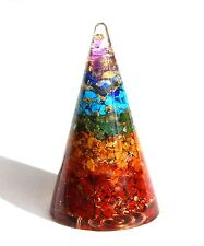 REIKI CHARGED LARGE 7 CHAKRA ORGONE CRYSTAL CONICAL POWERFUL ENERGY GENERATOR UK