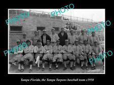 OLD 8x6 HISTORIC PHOTO OF TAMPA FLORIDA THE TAMPA TARPONS BASEBALL TEAM 1950