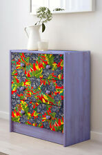 Chest of 3 drawers - TROPICAL BRAZILIAN FLOWERS blue peonias- MADE TO ORDER