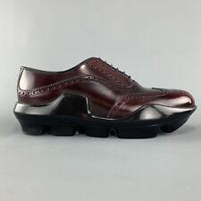 PRADA Size 10 Burgundy Leather Wingtip Rubber Platform Sole Lace Up