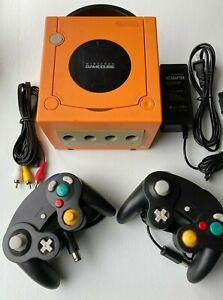Nintendo GameCube DOL-001 SPICE ORANGE Console + 2 Controllers Bundle GCN US/Can