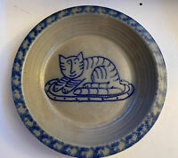 Eldreth Pottery 2001 Plate Kitty Cat Crock Signed Stoneware Cobalt