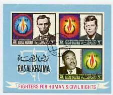 Stamp commemerative sticker - Rasal Khaima 1968. King, Kennedy, Lincoln