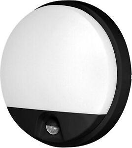 10W LED PIR Round Front Door Porch Garden Wall Light Cool White 4000K IP54 Black