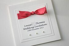 Pocketfold Wedding/Evening Invitation SAMPLE CORAL Ribbon with pearls