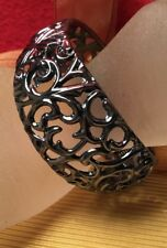 Retro fab funky wide Chunky Open Floral Pot Metal Style Silver Clamper bangle