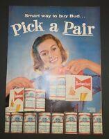 Original Print Ad 1956 BUDWEISER Pick a Pair  Six Pack Cans  Vintage Art