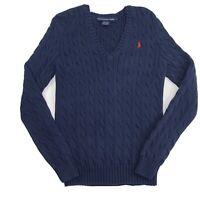 Ralph Lauren Sport Womens Sweater Cable Knit V-Neck Long Sleeve Navy Blue Size L