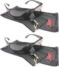 JSP 2x Stealth SAFETY GLASSES Black Frame UV400 Smoke Lens c/w Accessories 3002