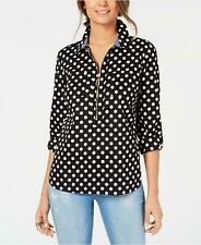 Tommy Hilfiger Top Blouse Black White Polka Dots Popover Sz S NEW NWT 217