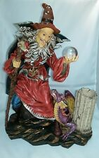 """#130 - WIZARD with CRYSTAL BALL & DRAGON Candle Holder 14.5"""" high x 11"""" wide"""