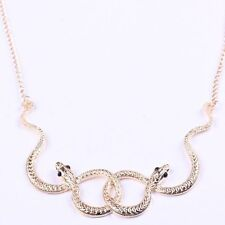 Women's Fashion Jewelry Gold Plated Short Choker Necklace Double Snake