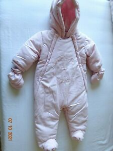 Baby Girl Pink French Style Snowsuit Pram Winter Coat Warm Hooded 3-6 month