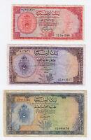 LIBYA 3 Old Banknotes *Fine