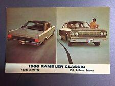 1966 AMC American Motors Rambler Classic Hardtop & Sedan Postcard RARE!!