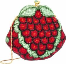 Judith Leiber Grapes Minaudière Evening Bag Gold Red Green CrystalsVintage