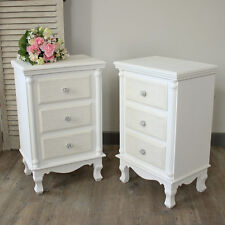 Paire Blanc Set de Table de Chevet Armoire Commode Shabby Vintage Chic Meubles de chambre