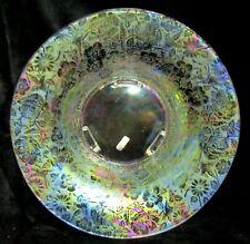 "Vintage 12.5"" Iridescent Elegant Glass Console Bowl - Etched Rose Blossom"