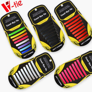 No Tie Shoelaces Elastic Shoe laces No tie Silicone Rubber Lace 16 Pieces