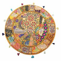 "32"" Round Patchwork Embroidered Floor Seating Indian Yellow Floor Cushion Cover"