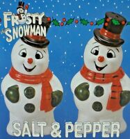 Vintage Frosty The Snowman Salt & Pepper Shakers by Benjamin & Medwin NIB S & P