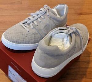 "$695 Mens Authentic Salvatore Ferragamo ""Cult 4"" Woven Suede Sneakers Beige 10"